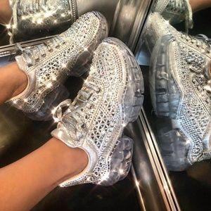 NEW🔥Lace-Up Rhinestone Diamond Sneaker Clear Heel
